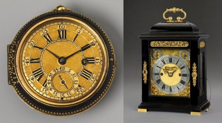 17세기 영국 최고의 시계공 토마스 톰피언이 제작한 회중시계와 탁상시계. 토마스 톰피언은 로버트 훅의 설계에 따라 진자시계를 제작하였다. 런던에 작업장을 차리고 분업 생산 방식을 도입하여 시계를 대규모로 제작하기 시작했다. 토마스 톰피언이 제작한 탁상시계는 절반 넘게 현재까지 전해지고 있다고 한다.